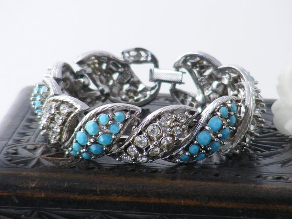 Vintage Diamante & Turquoise Glass Bracelet | 1950s Statement Cuff | Chunky, Dramatic Rhinestone Evening Bracelet - 7 inches Long