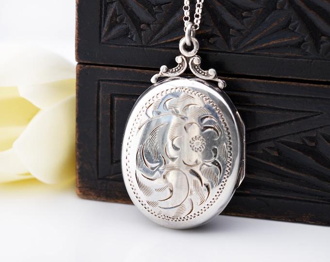 Vintage Locket | Birks Sterling Silver Locket | Victorian Revival - 20 Inch Chain