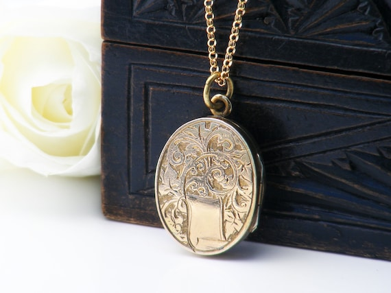 Antique Locket | Small Victorian Locket | Engraved Ivy Leaves | Love Token Keepsake Locket Necklace  - 20 Inch Chain Included
