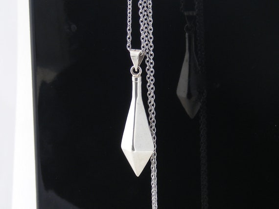 Sterling Silver Pendulum Pendant | Heavy Divining Pendulum | 925 Silver - 34 Inch Long Chain