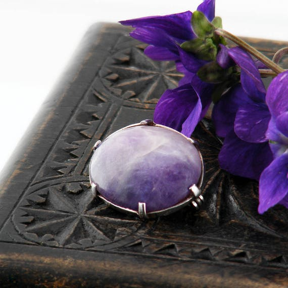 Edwardian Brooch | Antique Amethyst Lace Pin | Sterling Silver & Natural Amethyst Cabochon | Lavender Gemstone Scatter Pin or Bouquet Pin