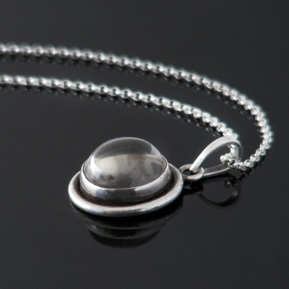 Sterling Silver & Rock Crystal Pendant | Rock Crystal Cabochon | Quartz Crystal Modernist Vintage Necklace - 20 Inch Chain