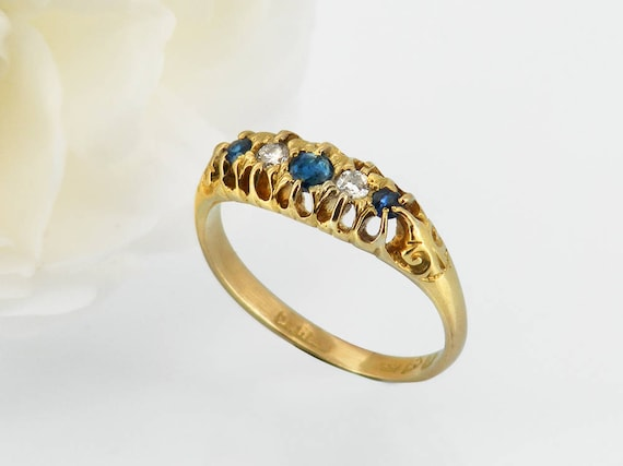 1907 Antique Sapphire & Diamond Ring, English Hallmarked 18ct Gold - US Ring Size 7 1/4 or UK Ring Size O 1/2