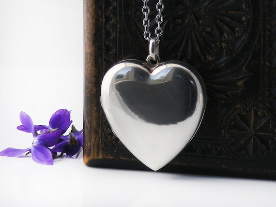 Big Heart Vintage Locket, Sterling Silver Puffy Heart Locket Necklace | Extra Large  Photo Locket - 34 inch Long Chain