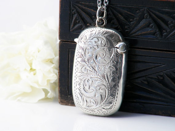 Antique Vesta Case | Sterling Silver Edwardian Match Safe Locket with Engraved Scrolls | 1902 English Hallmarks - 30 Inch Sterling Chain