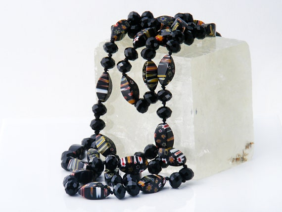 Extra Long Millefiori Glass Beads | 50 Inch Bead Necklace | Art Deco Jewelry | Black Floral, Striped Beads | Flapper Necklace