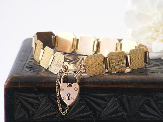 Art Deco Gold Bracelet | Heart Padlock Clasp | 9ct Gold Front & Back Bracelet, Art Deco Panel Bracelet - 7.5 Inch Antique Bracelet