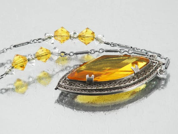 Vintage Necklace Citrine Yellow Navette Pendant | Filigree Silver Art Deco Jewelry - 18 Inch Chain