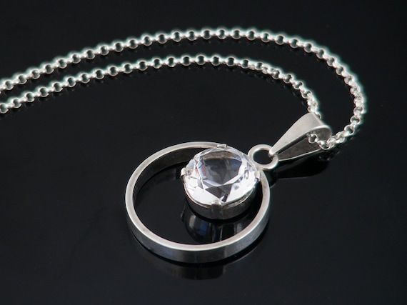 Vintage Quartz Crystal & Silver Pendant | 835 European Silver Faceted Rock Crystal Modernist Necklace - 20 inch Sterling Chain