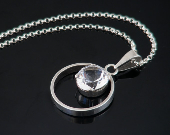 Vintage Quartz Crystal & Silver Pendant | 835 European Silver Modernist Necklace - 22 inch Sterling Chain