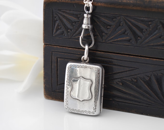 Victorian Sterling Silver Book Locket with Shield | 1900 English Hallmark | Medication Holder - 30 Inch Chain & Fob Clip