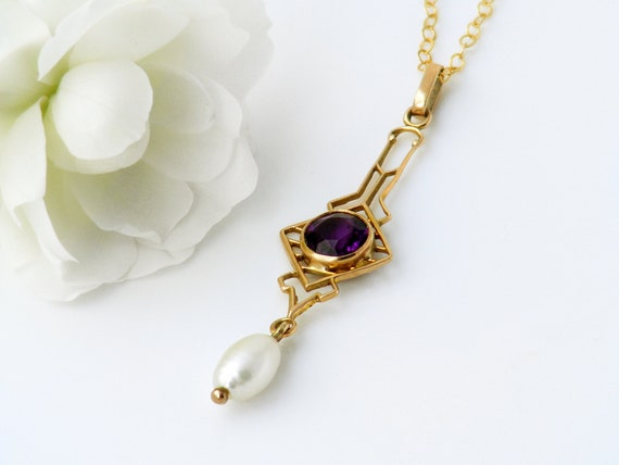 Victorian Necklace | 10ct Gold with Faceted Amethyst & Rice Pearl Lavaliere | Art Nouveau | Antique Pendant  - 20 Inch Chain
