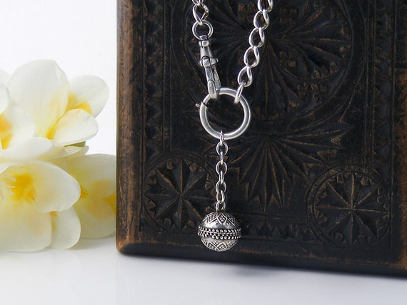 Victorian Sterling Silver Fob Chain with Etruscan Revival Orb and Bolt Ring | Antique Fob Chain - Heavy 19.5 Inch Sterling Chain
