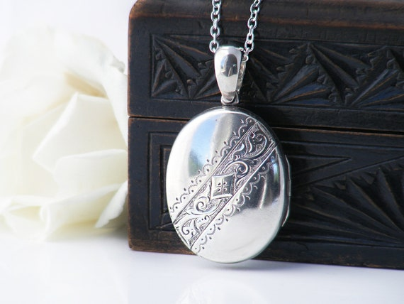 Sterling Silver Antique Locket | Medium Size Oval Victorian Locket Pendant | Valentine's Gift | Love Token - 30 Inch Long Chain