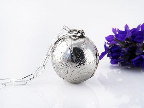 Vintage Ball Photo Locket | Sterling Silver Engraved Orb Locket | 1977 Hallmarked Sterling Silver Sphere - 20 inch Sterling Chain