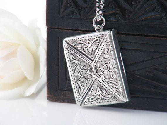 Edwardian Sterling Silver Locket, Love Token | Engraved Silver Stamp Envelope | Antique Stamp Case, Stamp Holder - 20 inch Sterling Chain