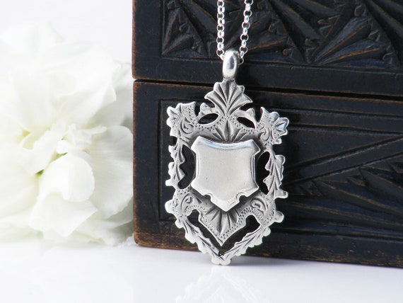 1922 Antique Medal   Sterling Silver Crest Medallion   Hallmarked English Silver Watch Fob - 22 Inch Sterling Chain