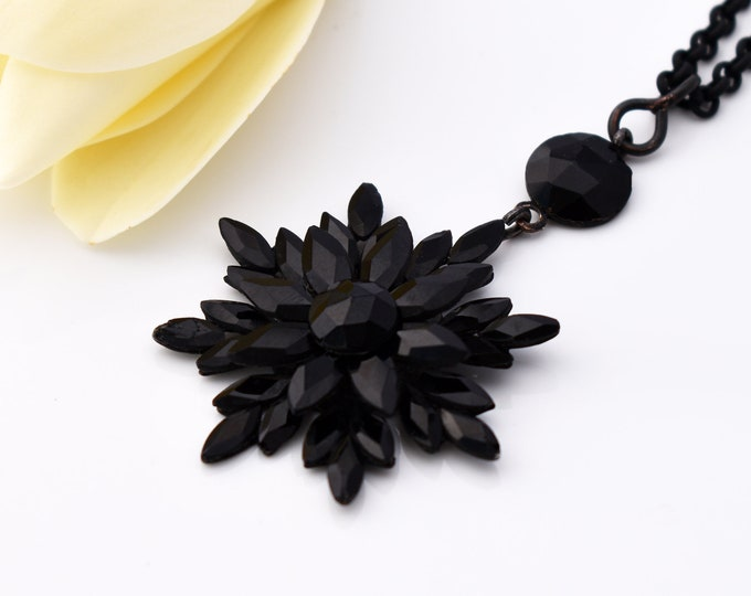 French Jet Antique Pendant   Georgian Pendant, Black Vauxhall Glass Faceted Flower Necklace I Gothic Revival - 20 Inch Chain