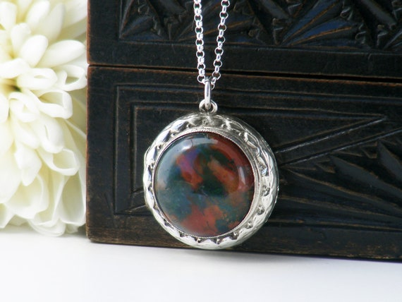Vintage Moss Agate Locket | Sterling Silver & Domed Agate Cabochon l English Hallmark 1975 Photo Locket Necklace - 20 Inch 925 Silver Chain