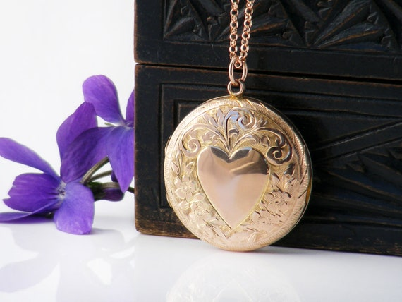 Rose Gold Antique Locket | Edwardian Locket | 9ct Gold Back & Front Photo Locket Necklace - 20 Inch Chain
