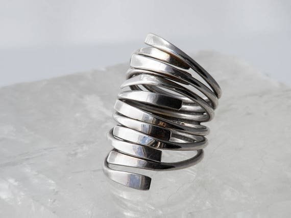 Vintage Modernist Sterling Silver Ring | Soldered Stack of Six Rings | 925 Silver - US Ring 6, UK Size M