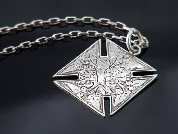Sterling Silver Antique Medal | Victorian Cross Fob Medal | Forget-Me-Not Flowers, Equal Arm Cross Pendant - 19 Inch Vintage Sterling Chain