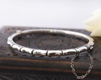 Vintage Sterling Silver Hinged Bangle | Bamboo Design Bracelet with 1988 English Hallmark - Medium Size