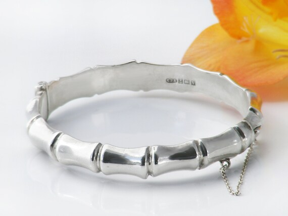 Vintage Sterling Silver Hinged Bangle | Bamboo Design Bracelet with 1962 English Hallmark - Medium Size