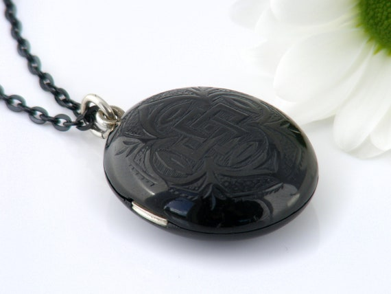 Whitby Jet Victorian Locket | Glossy Oval Black Antique Locket | Gothic Revival Quatrefoil Design - 30 Inch Long Black Chain