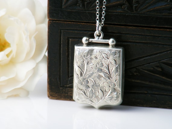 Antique Locket | 1908 Edwardian Shield Locket | Sterling Silver Locket with English Hallmarks - 20 Inch Sterling Silver Chain