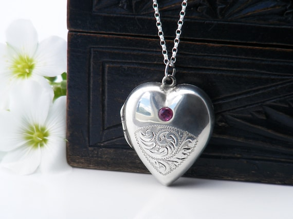Vintage Sterling Silver Locket | Heart Locket with Ruby Gemstone | Hand Chased Design - 22 Inch Chain