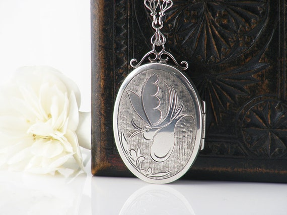 Sterling Silver Vintage Locket | Hand Chased Peace Dove Design | 1940s Large Oval Victorian Revival -19 Inch Ornate Sterling Collar Chain