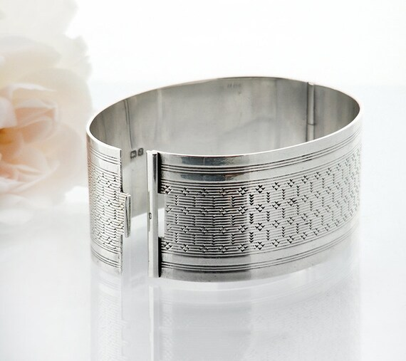 Antique Sterling Silver Cuff Bracelet | 1933 Hinged Bangle | Art Deco Minimal Design - Wide Cuff, Small Size