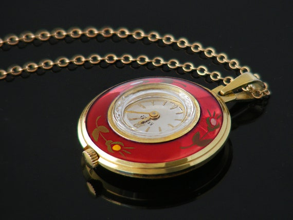 Metallic Red Vintage Pendant Watch | Working Mechanical Watch | Renova 17 Jewel Vintage Cocktail Watch - 24 Inch Chain