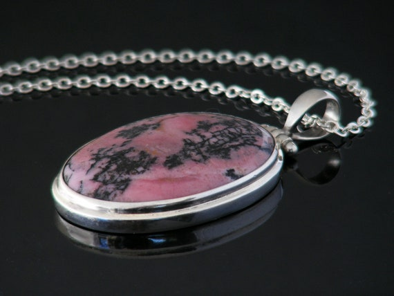 Vintage Rhodonite & Sterling Silver Pendant | Rose Pink and Black Gemstone Necklace | Large Oval Pendant - 30 inch Long Sterling Chain