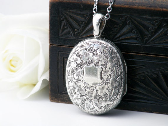 Victorian Locket | Sterling Silver Antique Locket Necklace | Hand Chased Ivy Leaves, Forget-Me-Not Flowers - 32 Inch Sterling Silver Chain
