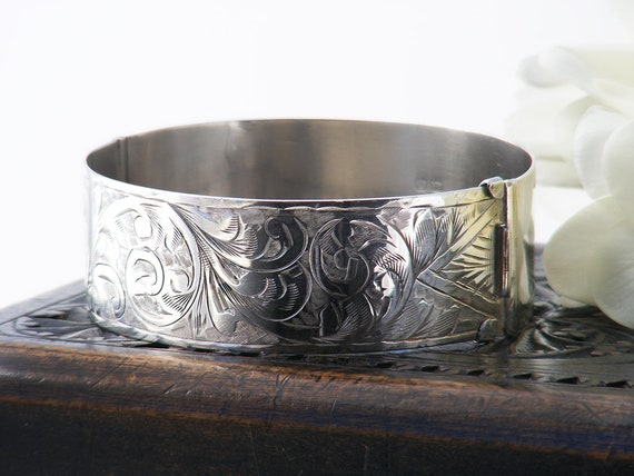 Antique Sterling Silver Cuff Bracelet | Edwardian 1913 Hallmark Wide Hinged Bangle | Vintage Jewelry Gift - 6 Inch Wrist