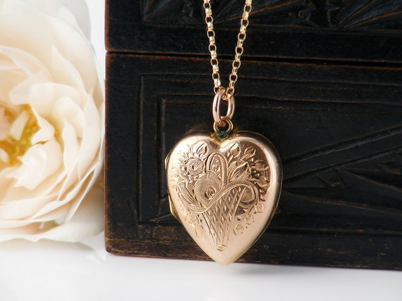 Antique Heart Locket | Victorian Rose Gold Back & Front Locket | Puffy Heart with Hand Chased Flowers | Bridal Gift - 20 Inch Chain