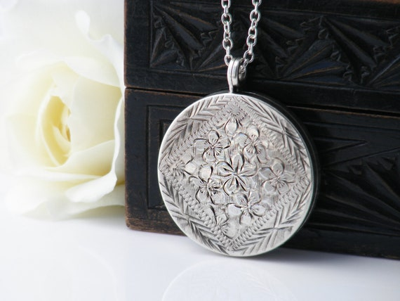 English Sterling Silver Vintage Locket | Large Engraved Round Locket | Forget-Me-Not Flowers | 1973 Hallmarked Silver - 30 Inch Long Chain