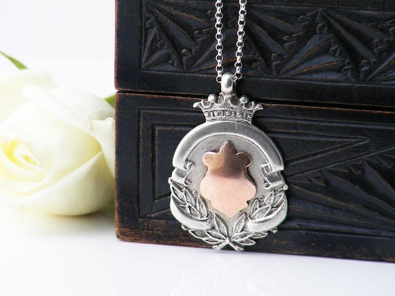 Antique Medal | Rose Gold & Sterling Silver Antique Medallion with Wreath and Crown | 1919 English Hallmark - 20 Inch Sterling Chain