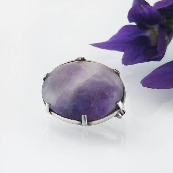 Edwardian Brooch | Antique Amethyst Lace Pin | Sterling Silver & Natural Amethyst Cabochon