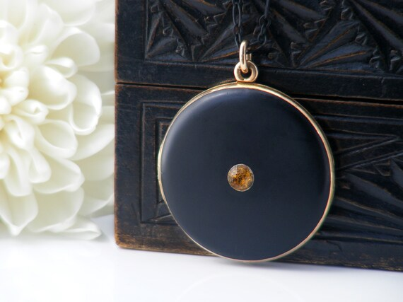 Edwardian Locket | Black Antique Locket with Topaz Crystal & Gold Trim | Minimal Design - 20 Inch Matte Black Chain
