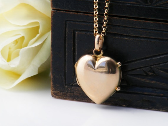 9ct Gold Heart Locket | Antique, Edwardian Bridal Pendant | Polished Solid Gold Puffy Heart Photo Locket | Bridal Gift - 20 Inch Chain