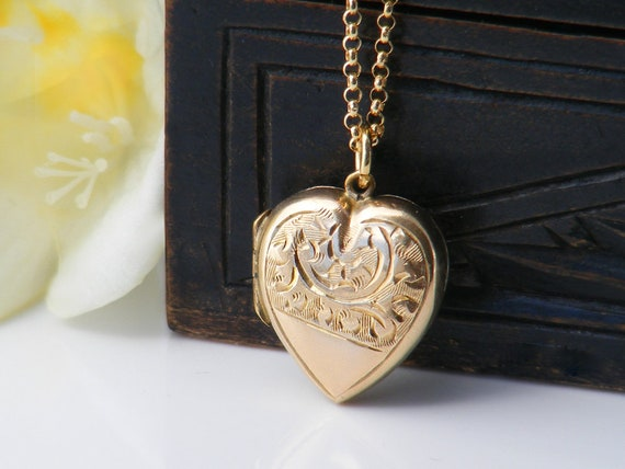 Antique Heart Locket | Small Edwardian 9ct Gold Locket, Dainty Bridal Locket - 20 Inch Chain Included