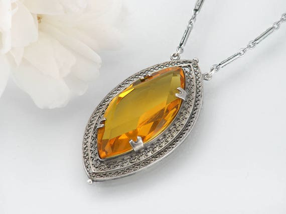Vintage Necklace Citrine Yellow Glass Pendant | Filigree Silver Art Deco Jewelry - 18 Inch Chain