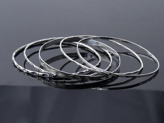 Set of 5 Vintage Stacking Bangles | Sterling Silver Bangles Set | Victorian Revival Bracelet Set | Narrow Stacking Bangles 925 Silver