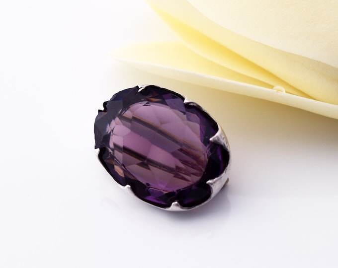 Edwardian Amethyst Pin by Charles Horner | 1907 Antique Lace Pin, Sterling Silver & Amethyst Glass