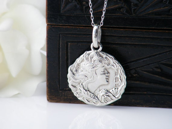 Art Nouveau Antique Medal | Joseph Gloster Fob Medallion | 1902 Hallmarked Sterling Silver Woman's Profile- 20 Inch Sterling Chain