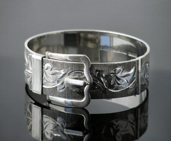 Vintage Buckle Bracelet | Sterling Silver Hinged Bracelet Cuff | Victorian Revival | 1976 English Hallmarks - Small to Medium Size Bracelet