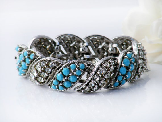 Vintage Diamante & Turquoise Bracelet | 1950s Statement Cuff | Chunky, Dramatic Rhinestone Evening Bracelet - 7 inches Long